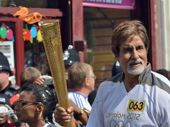 Amitabh Bachchan with Olympic Torch