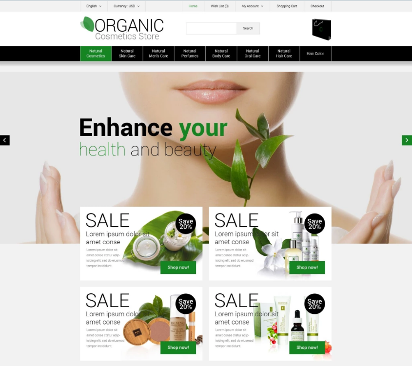 OpenCart Cosmetics & Beauty Store Theme