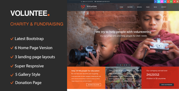 Volunteer Is An HTML Template Is Created For Non Profit Websites, Like  Governmental Social Program Websites, NGO, Donation And Fundraising  Websites, Etc.  Ngo Templates